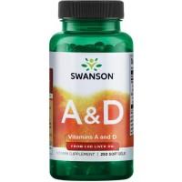 A-D Vitamiin (250geelkaps/150serv) Swanson USA