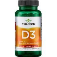 D-Vitamiin 2000iu (250kaps/250serv) SWANSON USA