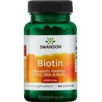 Biotin 5000 (100kaps/100päeva) Swanson USA
